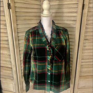 NWOT Free People Plaid Flannel Buttondown